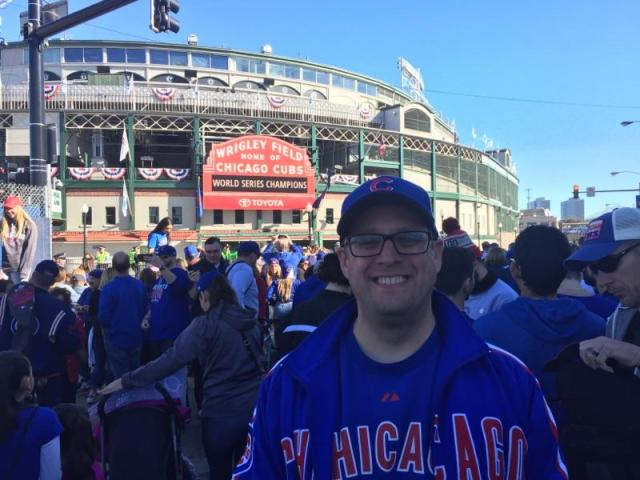 My childhood friend John. One of the biggest Cub fans I know.